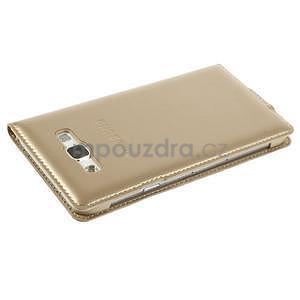 Kožené peňaženkové puzdro s okienkom - zlaté - 5