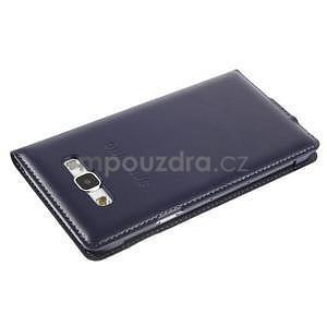 Kožené peňaženkové puzdro s okienkom - tmavo modré - 5
