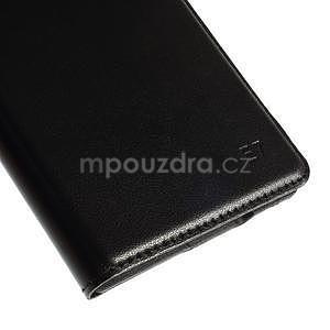 Kožené peňaženkové puzdro s okienkom - čierné - 5