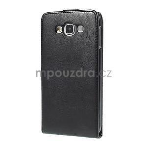 Čierné flipové kožené puzdro pre Samsung Galaxy E7 - 5
