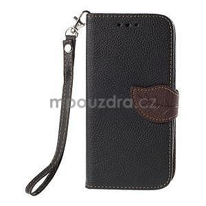 Čierné/hnedé zapínací peňaženkové puzdro na Samsung Galaxy Grand Prime - 5