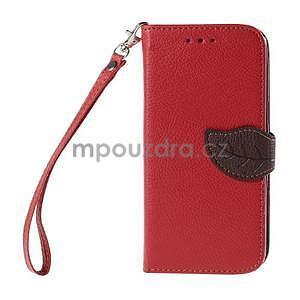 Červené/hnedé zapínací peňaženkové puzdro na Samsung Galaxy Grand Prime - 5