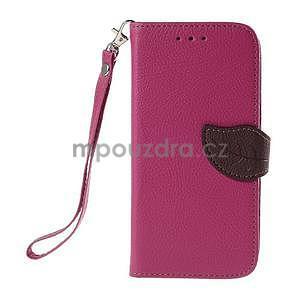 Rose/hnedé zapínací peňaženkové puzdro na Samsung Galaxy Grand Prime - 5