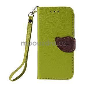 Zelené/hnedé zapínací peňaženkové puzdro na Samsung Galaxy Grand Prime - 5