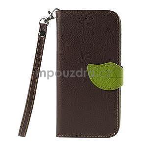 Hnedé/zelené zapínací peňaženkové puzdro pre Samsung Galaxy Grand Prime - 5