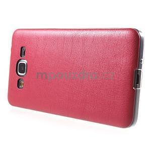 Ultratenký kožený kryt pre Samsung Grand Prime - červený - 5