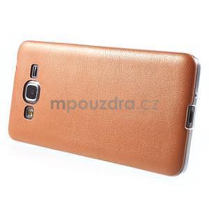 Ultratenký kožený kryt pre Samsung Grand Prime - oranžový - 5