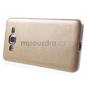 Ultratenký kožený kryt na Samsung Grand Prime - zlatý - 5