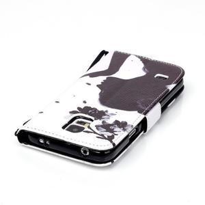 Knížkové PU kožené pouzdro na Samsung Galaxy S5 - květinová dívka - 5