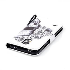 Knížkové PU kožené puzdro pre Samsung Galaxy S5 - lebka - 5