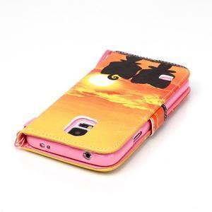 Knížkové PU kožené puzdro pre Samsung Galaxy S5 - západ slnka - 5
