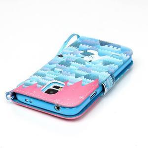 Knížkové PU kožené puzdro pre Samsung Galaxy S5 - snežný muž - 5