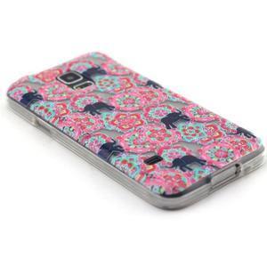 Transparentný gélový obal pre mobil Samsung Galaxy S5 mini - kvety a slony - 5