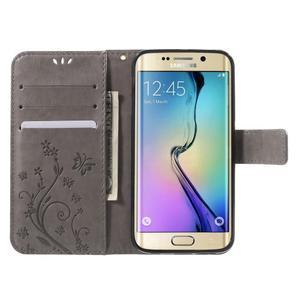 Butterfly PU kožené pouzdro na mobil Samsung Galaxy S6 Edge - šedé - 5