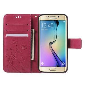 Butterfly PU kožené puzdro pre mobil Samsung Galaxy S6 Edge - rose - 5