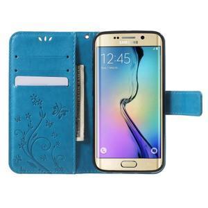 Butterfly PU kožené puzdro pre mobil Samsung Galaxy S6 Edge - modré - 5