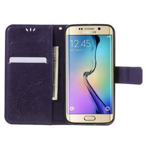 Butterfly PU kožené puzdro pre mobil Samsung Galaxy S6 Edge - fialové - 5