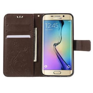 Butterfly PU kožené puzdro pre mobil Samsung Galaxy S6 Edge - coffee - 5