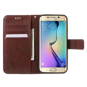 Butterfly PU kožené puzdro pre mobil Samsung Galaxy S6 Edge - hnedé - 5