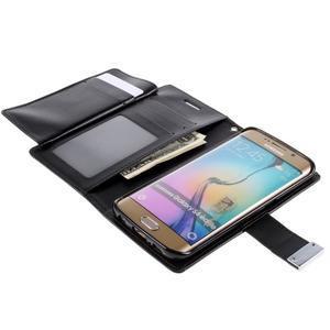 Richdiary PU kožené puzdro pre mobil Samsung Galaxy S6 Edge - čierne - 5