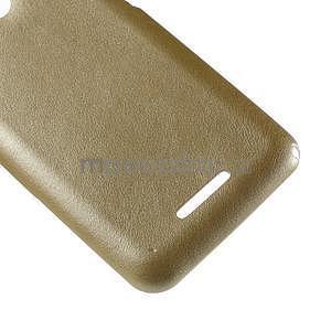 Gélový obal na Sony Xperia E4g s koženkovým chrbtom - zlatý - 5