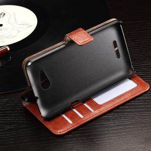 Horse PU kožené puzdro pre mobil Sony Xperia E4g - hnedé - 5