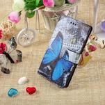 Standy peněženkové pouzdro Sony Xperia M2 Aqua - modrý motýl - 5/6