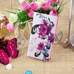 Standy peněženkové pouzdro Sony Xperia M2 Aqua - fialové květy - 5