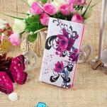 Standy peněženkové pouzdro Sony Xperia M2 Aqua - fialové květy - 5/6