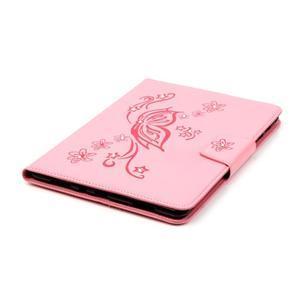 Butterfly PU kožené puzdro pre Samsung Galaxy Tab A 9.7 - ružové - 5
