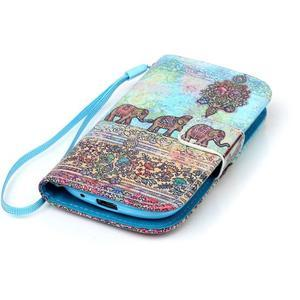 Knížkové PU kožené puzdro pre Samsung Galaxy S3 mini - slony - 5