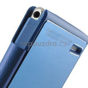 Kožené puzdro s okýnky na Huawei P6 - modré - 5