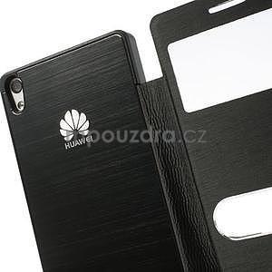 Kožené puzdro s okýnky na Huawei P6 - čierné - 5
