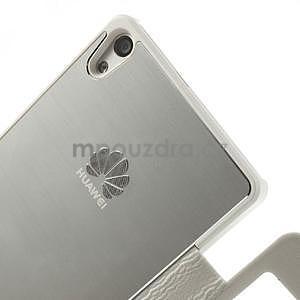 Kožené puzdro s okýnky na Huawei P6 - biele - 5