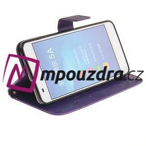 Dandelion PU kožené puzdro na Huawei Y6 II a Honor 5A - fialové - 5