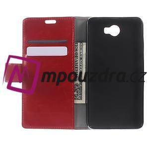 Horses PU kožené puzdro na Huawei Y6 II Compact - červené - 5