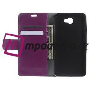 Horses PU kožené pouzdro na Huawei Y6 II Compact - fialové - 5
