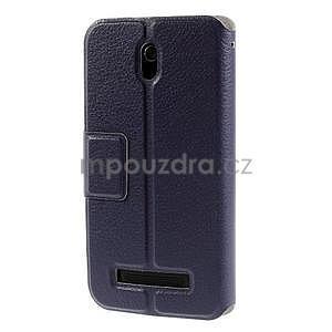 Flipové kožené puzdro na HTC Desire 500 - tmavě fialové - 5