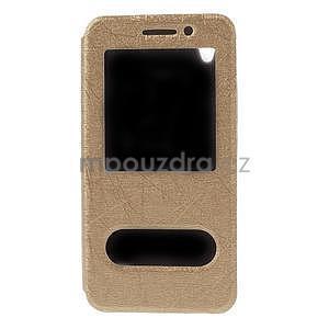 puzdro s okýnky na Huawei Ascend G620s - zlaté - 5