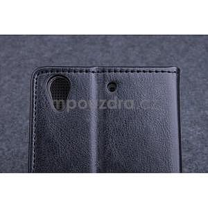 Čierné kožené peňaženkové puzdro na Huawei Ascend G620s - 5