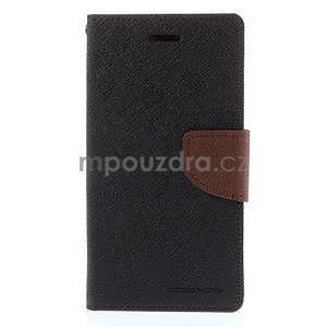 Kožené peňaženkové puzdro na Nokia Lumia 830 - čierné/hnedé - 5