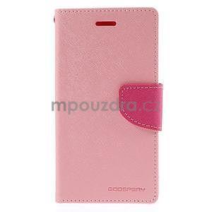 Kožené peňaženkové puzdro na Nokia Lumia 830 - růžové - 5