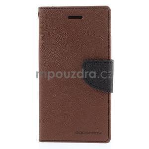 Kožené peňaženkové puzdro na Nokia Lumia 830 - hnedé/čierné - 5