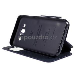 PU kožené puzdro s okienkom pro Samsung Galaxy J5 - fialové - 5