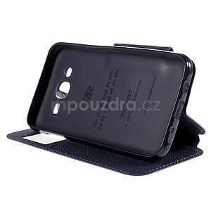 PU kožené pouzdro s okýnkem pro Samsung Galaxy J5 - fialové - 5