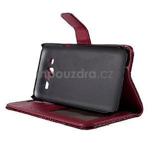 PU kožené puzdro s imitací krokodýlí kože Samsung Galaxy J5 - tmavo červené - 5