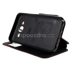 PU kožené puzdro s okienkom pro Samsung Galaxy J5 - červené - 5