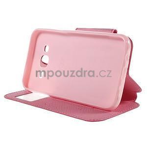 PU kožené puzdro s okienkom pro Samsung Galaxy J5 - rose - 5