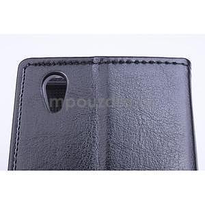 Peňaženkové kožené puzdro na Lenovo P70 - čierné - 5