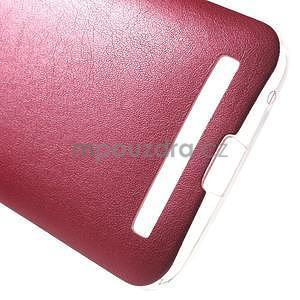 Gélový obal s jemným koženkovým plátem pre Asus Zenfone 2 Laser ZE500KL - rose - 5
